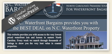 NC waterfront bargains wordpress CMS website