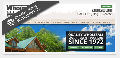 Wholesale log homes, website design