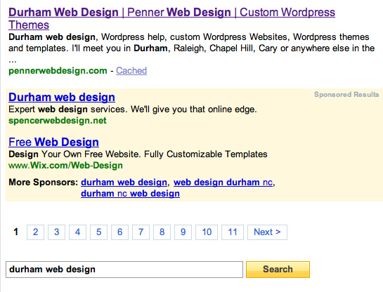 Yahoo ranking for durham web design