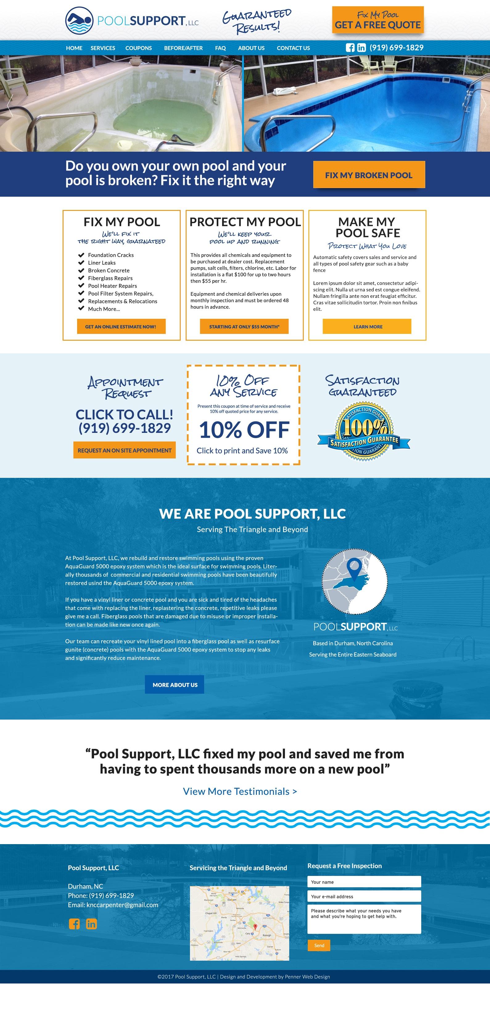 Pool Support Website Design Min Durham Web Design Penner Web Design Custom Wordpress Themes